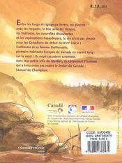 Champlain au canada les aventures d'un gentilhomme explorateur - 4ème de couverture - Format classique