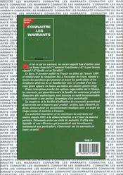Connaitre Les Warrants - 4ème de couverture - Format classique