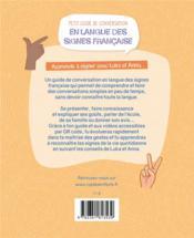 Petit guide de conversation en langue des signes française ; apprends à signer avec Lucas et Anna - 4ème de couverture - Format classique