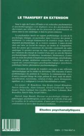 Le Transfert En Extension ; Derivation D'Un Concept Psychanalytique - 4ème de couverture - Format classique