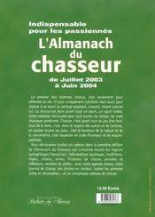 Almanach Du Chasseur - 4ème de couverture - Format classique