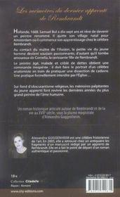 Le testament rembrandt - 4ème de couverture - Format classique