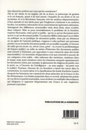Papier a l archive du prive au public france et iles britanniques deux memoires - 4ème de couverture - Format classique