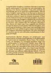 Léopold Sedar Senghor, l'art africain comme philosophie - 4ème de couverture - Format classique