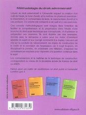 Méthodologie du droit administratif ; cas pratique, commentaire d'arrêt, texte, dissertation, fiche d'arrêt - 4ème de couverture - Format classique