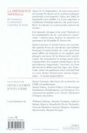 La présidence impériale - 4ème de couverture - Format classique