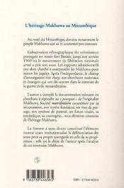 L'Heritage Makhuwa Au Mozambique - 4ème de couverture - Format classique