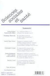 Revue Sciences Sociales Et Sante N.24 ; La Médecine Défensive ; Séropositivité Et Dialogue Conjugal ; Médecins Généralistes Et Bonnes Pratiques - 4ème de couverture - Format classique