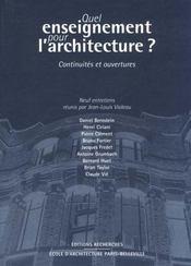 Quel Enseignement Pour L'Architecture ? - Intérieur - Format classique