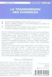 La transmission des evangiles - 4ème de couverture - Format classique
