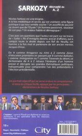Sarkozy décrypté de a à z - 4ème de couverture - Format classique