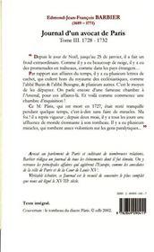 Journal d'un avocat de Paris t.3 (1728-1732) ; la question janséniste - 4ème de couverture - Format classique