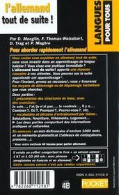 L'Allemand Tout De Suite - 4ème de couverture - Format classique