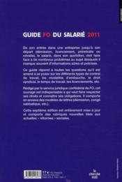 FO ; guide du salarié (édition 2011) - 4ème de couverture - Format classique