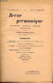 Revue Germanique / Allemagne - Angleterre - Etats-Unis - Pays-Bas - Scandinavie / Vingt-Sixieme Annee - N°4 - Octobre-Decembre 1935. - Couverture - Format classique