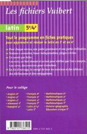 Latin 5e-4e - 4ème de couverture - Format classique