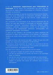 Dictionnaire Anglais-Francais Pour L'Informaticien Et L'Internaute - 4ème de couverture - Format classique