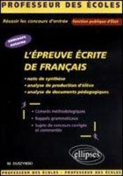 L'Epreuve Ecrite De Francais Concours Externe Note De Synthese Analyse De Production D'Eleve - Intérieur - Format classique