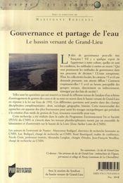 Gouvernance et partage de l'eau ; le bassin versant de grand-lieu - 4ème de couverture - Format classique