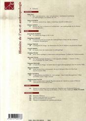 Histoire de l'art et anthropologie - 4ème de couverture - Format classique