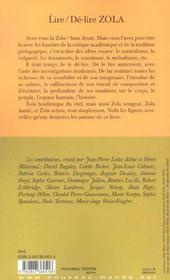 Lire, de-lire zola - 4ème de couverture - Format classique