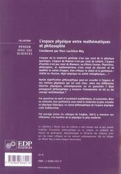 Espace Physique - Maths Et Philo - 4ème de couverture - Format classique