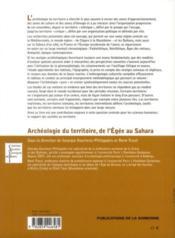 Archéologie du territoire, de l'Egée au Sahara - 4ème de couverture - Format classique