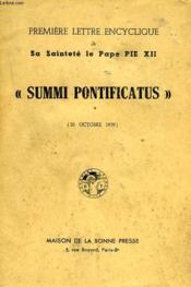 Premiere Lettre Encyclique De S.S. Le Pape Pie Xii, 'Summi Pontificatus' - Couverture - Format classique