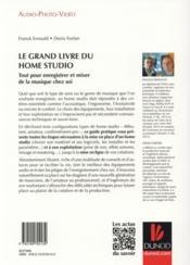Le grand livre du Home Studio ; tout pour enregistrer et mixer de la musique chez soi - 4ème de couverture - Format classique