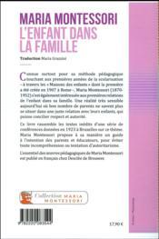 L'enfant dans la famille - 4ème de couverture - Format classique