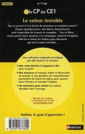 L'ENIGME DES VACANCES PRIMAIRE T.20 ; le voleur invisible ; du CP au CE1 ; 6/7 ans - 4ème de couverture - Format classique
