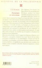 Problèmes du spinozisme - 4ème de couverture - Format classique
