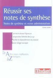 Reussir ses notes de synthese (concours administratis categories a et b) - Intérieur - Format classique