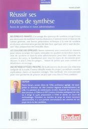 Reussir ses notes de synthese (concours administratis categories a et b) - 4ème de couverture - Format classique