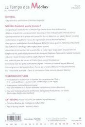 REVUE LE TEMPS DES MEDIAS T.2 ; publicité, quelle histoire ? - 4ème de couverture - Format classique