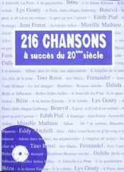 216 Chansons Du 20eme Siecle - Intérieur - Format classique