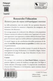 Renouveler l'éducation - 4ème de couverture - Format classique