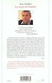Les Noces De Claudine - 4ème de couverture - Format classique