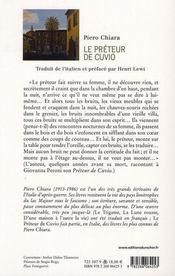 Le prêteur de Cuvio - 4ème de couverture - Format classique