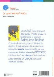 Le Grand Mechant Baleze - 4ème de couverture - Format classique