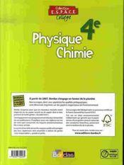 ESPACE COLLEGE ; physique chimie ; 4e ; manuel (édition 2007) - 4ème de couverture - Format classique