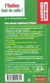 L'Italien Tout De Suite - 4ème de couverture - Format classique