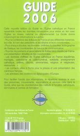 Guide 2006 De L'Eglise Catholique En France - 4ème de couverture - Format classique