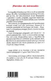 Paroles de miraculés ; 50 ans aprés le drame d'Oradour-sur-Glane - 4ème de couverture - Format classique