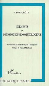 Éléments de sociologie phénomenologique - Couverture - Format classique