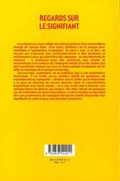 Regards sur le signifiant. etudes de morphosyntaxe espagnole - 4ème de couverture - Format classique