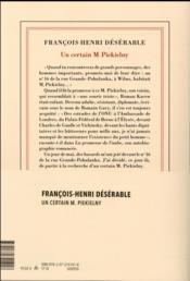 Un certain M. Piekielny - 4ème de couverture - Format classique