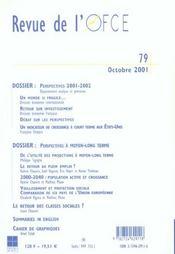 Revue De L'Ofce ; Octobre 2001 - 4ème de couverture - Format classique