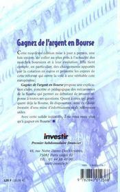 Gagner De L'Argent En Bourse - 4ème de couverture - Format classique
