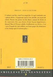 Sur la lecture - 4ème de couverture - Format classique